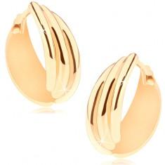 Kloubové náušnice ve žlutém 14K zlatě, kroužek ze tří zaoblených linií