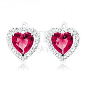 Náušnice ze stříbra 925, tmavě růžové srdce v čiré zirkonové kontuře