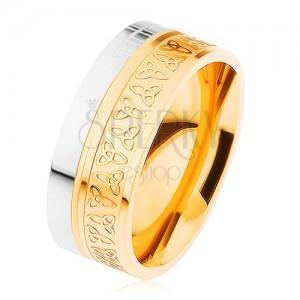 Prsten z chirurgické oceli, stříbrná a zlatá barva, keltské uzly