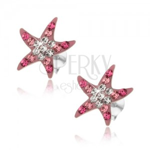 Stříbrné náušnice 925, růžová mořská hvězdice, blýskavé zirkony, puzetky