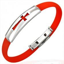 Plochý gumový náramek - kříž, červený