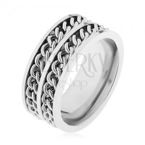 Prsten z oceli 316L stříbrné barvy, dva dekorativní řetízky, vysoký lesk