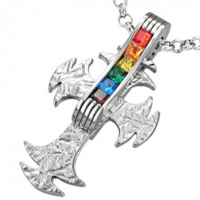 Kříž z oceli s duhovými zirkony - GAY PRIDE