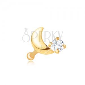 Piercing do nosu ve žlutém 14K zlatě - rovný, srpek měsíce, zirkon