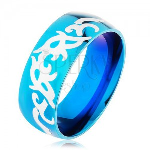 Modrý prsten z oceli 316L, lesklý hladký povrch s kmenovými vzory