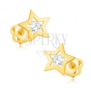 Náušnice ze žlutého 14K zlata - lesklý obrys hvězdičky, čirý zirkon