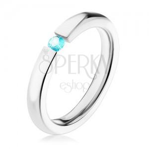 Prsten z oceli 316L, stříbrná barva, blýskavý zirkon v tyrkysovém odstínu, 3 mm