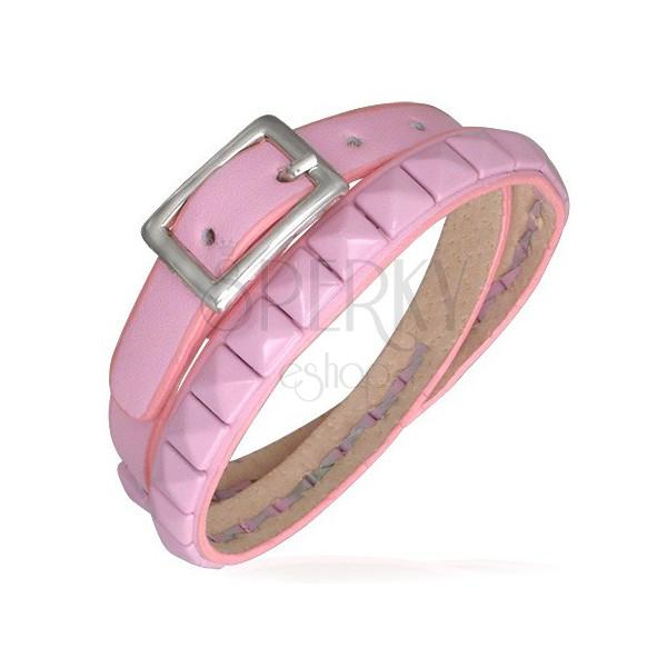 Zdvojený růžový kožený náramek - pyramidové vybíjení
