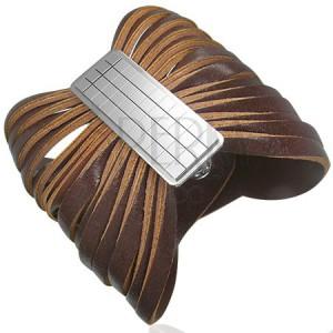 Hnědý kožený náramek se sponou - šachovnice