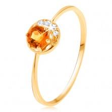 Prsten ze žlutého 9K zlata - úzký srpek měsíce, žlutý citrín, zirkonky čiré barvy