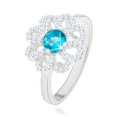 Třpytivý prsten, stříbro 925, zirkonový květ - čiré lupínky, světle modrý střed HH12.3