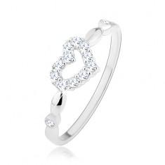 Stříbrný 925 prsten, asymetrické třpytivé srdíčko - kontura, zirkonky HH12.5