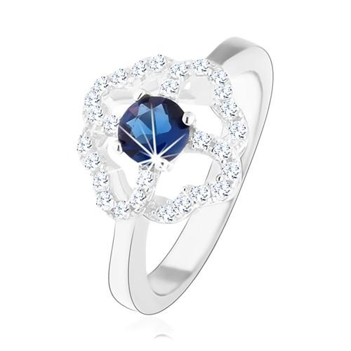 Levně Rhodiovaný prsten ze stříbra 925, čirý obrys čtyřlístku s modrým zirkonem - Velikost: 55