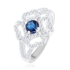 Prsten - stříbro 925, rozdělená ramena, čirý obrys květu, modrý zirkon HH14.4