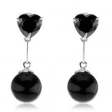 Stříbrné 925 náušnice, zirkonové srdce a kulatá perla v černé barvě