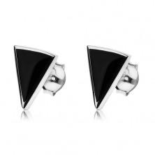 Puzetové náušnice ze stříbra 925, černý onyxový trojúhelník, lesklá kontura