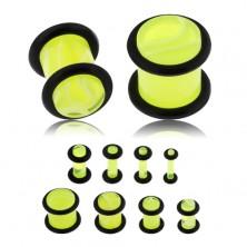 Plug do ucha z akrylu, neonově žlutá barva, mramorový vzor, černé gumičky