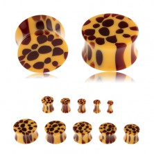 Sedlový plug do ucha z akrylu, oranžová barva, hnědé skvrny - leopardí vzor