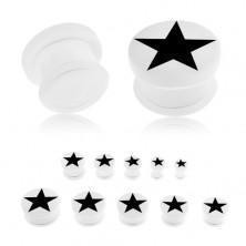 Akrylový plug bílé barvy do ucha, černá pěticípá hvězda, průhledná gumička