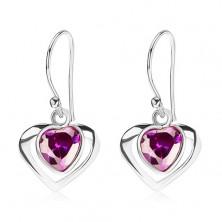 Stříbrné náušnice 925, kontura srdce, srdcovitý zirkon - fialový odstín, afro háček