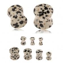 Plug do ucha z jaspisu dalmatinského, šedohnědý odstín, černé a hnědé skvrny