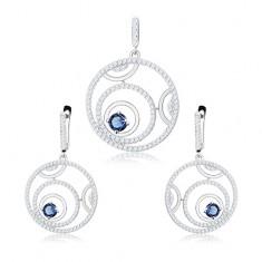 Stříbrná sada 925 - přívěsek a náušnice, obrysy kruhů, kulatý modrý zirkon
