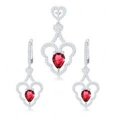 Set přívěsku a náušnic, stříbro 925, zvlněný obrys srdce, růžová kapka