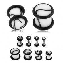 Akrylový plug do ucha bílé barvy, černý mramorový vzor, dvě gumičky