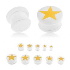 Plug do ucha z akrylu bílé barvy, žlutá pěticípá hvězda, gumička