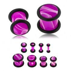 Plug do ucha z akrylu fialové barvy, bílý mramorový vzor, dvě gumičky