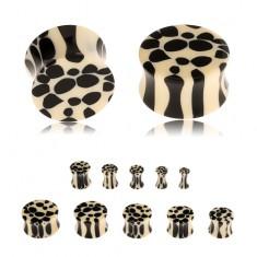 Akrylový sedlový plug do ucha, béžovočerný leopardí vzor