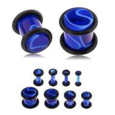 Akrylový plug do ucha, tmavě modrá barva, mramorový vzor, gumičky