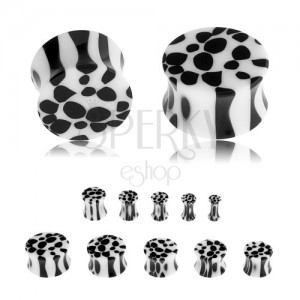 Sedlový plug do ucha z akrylu, černobílý leopardí vzor