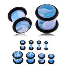 Světle modrý plug do ucha, akryl, bílý mramorový vzor, gumičky