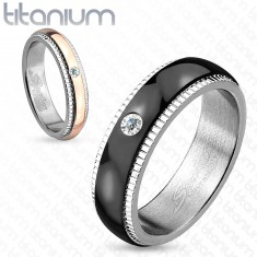 Prsten z titanu, stříbrná barva, černý pás se zirkonem, vroubky, 6 mm