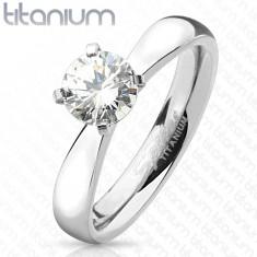 Zásnubní prsten z titanu, stříbrná barva, kulatý čirý zirkon, lesklá ramena