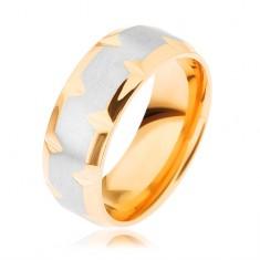 Prsten z chirurgické oceli, dvoubarevný - zlatý a stříbrný odstín, zářezy HH15.14