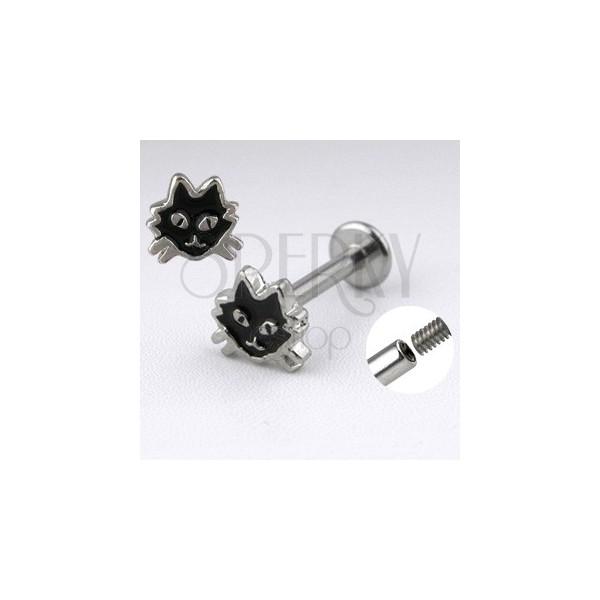 Ocelový labret stříbrné barvy - kočka s černou glazurou