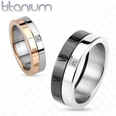Prsten z titanu, černá a stříbrná barva, římské číslice, zirkon, 7 mm