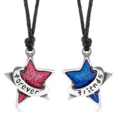 Sada šňůrkových náhrdelníků, třpytivá růžová a modrá hvězda, forever friends