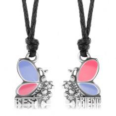 Dva náhrdelníky pro přátele, růžovo-fialoví motýli, kvítky, BEST FRIEND
