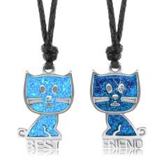 Šňůrkové náhrdelníky, modré kočičky, glazura, nápis BEST FRIEND