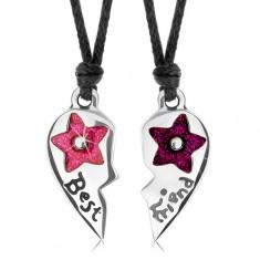 Sada dvou náhrdelníků pro přátele, lesklé rozpůlené srdce, květy