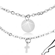 Ocelový řetízek na kotník, stříbrná barva, přívěsky - ploché kruhy a kříže