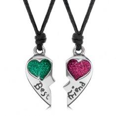 Šňůrkové náhrdelníky, rozpůlené srdce, zelené a růžové srdíčko, Best Friend