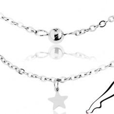 Řetízek na kotník, chirurgická ocel stříbrné barvy, lesklé hvězdy a kuličky