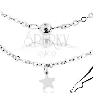 9eec43b71 Řetízek na kotník, chirurgická ocel stříbrné barvy, lesklé hvězdy a kuličky