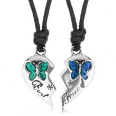 Set náhrdelníků pro přátele, poloviny srdce, barevní motýli, Best Friend