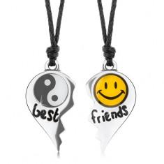 Šňůrkové náhrdelníky, rozpůlené srdce, Jin a Jang, žlutý smajlík, nápis best friends