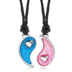 Šňůrkové náhrdelníky, rozdělený symbol Jin a Jang, modrá a růžová glazura